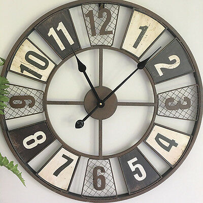 Warehouse 60cm Metal Wall Clock/Rustic Brown/Rustic Urban Farmhouse Industrial