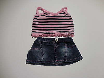 Build A Bear Girl 2 Pc Outfit White Top with Red Hearts & Buckle   ...