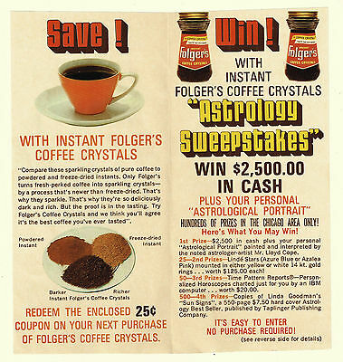 Vintage 1970 FOLGER'S ASTROLOGY SWEEPSTAKES Coffee Advertising/Coupon Leaflet