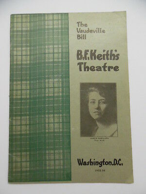 1916 B.F. Keith's Theatre Vaudeville Program Washington DC Antique Adele Rowland