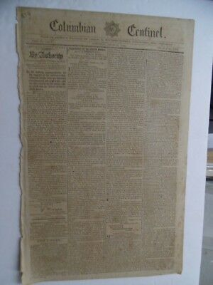 1795 Columbian Centinel Newspaper George Washington Henry Knox Indian Peace RARE