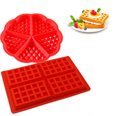 DIY *UK Seller* Silicone Round Square Waffles Mould Muffin Pans Baking Cake Tray
