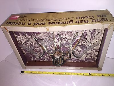 Vintage Coca Cola 1890 Flare Glasses Reproduced In 1974 Set with Box And  Holder