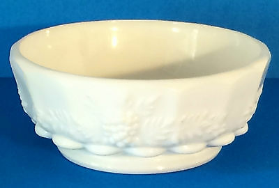 Footed Milk Glass Bowl, Westmoreland Paneled Grape Pattern, Wide