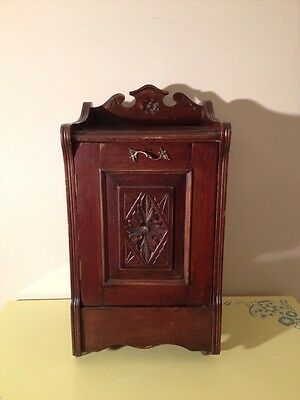 Antique Solid Oak English Nightstand - Bed Side Cabinet on Porcelain Wheels
