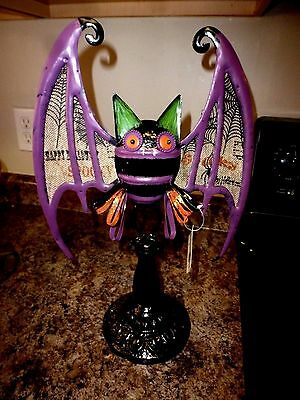 New Large Black & Purple Metal Bat Mantel Display Halloween Prop Sculpture