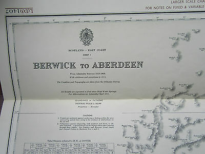 "1973 BERWICK to ABERDEEN Scotland - Nautical Sea MAP Chart 28"" x 48"""