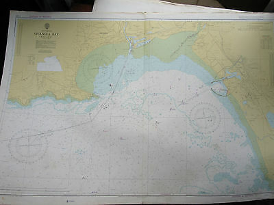 "1976 SWANSEA BAY South Wales - NAUTICAL MAP Sea Chart 28"" x 41"""