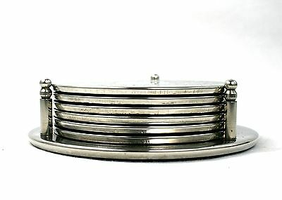 Vintage Silver Plated Coaster Set of 6 & Stand