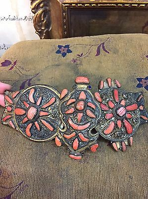 Ottoman Orientalist Tombak With Fully Coral Decorated Belt Buckle