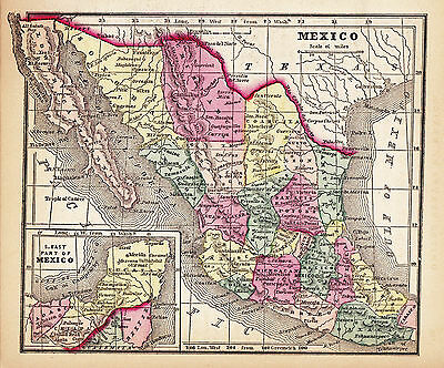 Original 1856 Hand-Colored Antique Map MEXICO Monterrey Acapulco Cancun Puebla