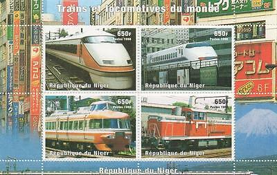Train Railway Travel Republique Du Niger 1998 Mnh Stamp Sheetlet