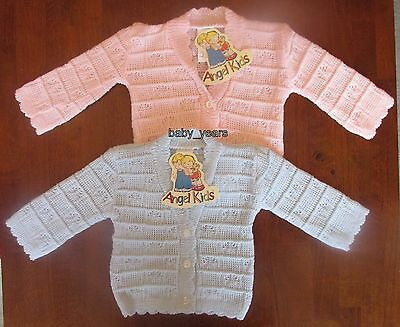 Baby Knitted Cardigan Long Sleeved Clothing Pink Blue Boys Girls Nb 0-3M New