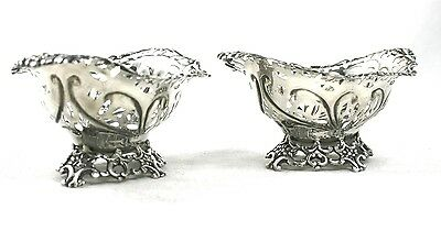 Antique Victorian Sterling Silver Sweet Bon Bon Nut Dishes 3 Footed Pair 1893