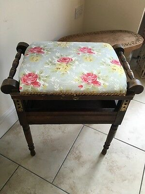 Adjustable Antique Piano Stool Seat Patent Appn 1900 Wooden Drawer Bench