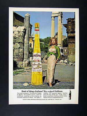 1968 Galliano Liqueur Pia Lindstrom in Fernanda Gattinoni Dress photo print Ad