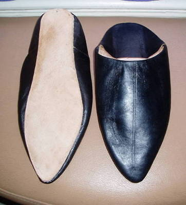 100% Moroccan Leather Pointed Backless Mules / Slippers * Black * All Sizes