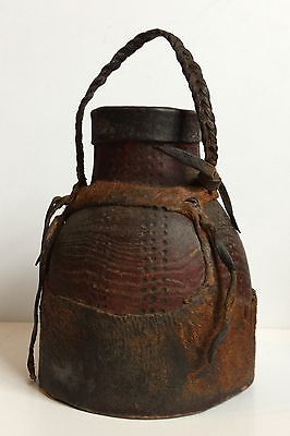 VINTAGE African Covered Milk or Water Jug - GIraffe Hide? From Kenya -BEAUTIFUL!