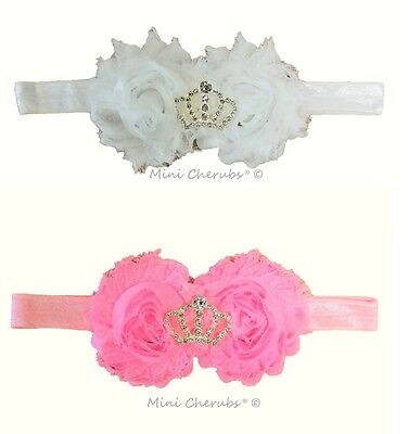 Baby Girls Diamante Crown Baby Stretch Headband Hair Band Pink/White SALE