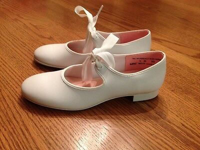 Capezio Youth 3M Girls White Leather Tap Dance Shoes
