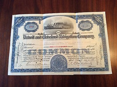 1925 Detroit and Cleveland Navigation Co. Steamship Stock Certificate