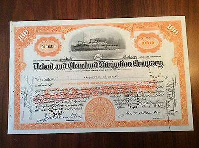 1942 Detroit and Cleveland Navigation Co. Steamship Stock Certificate