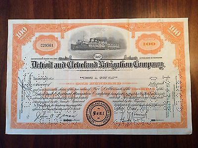 1953 Detroit and Cleveland Navigation Co. Steamship Stock Certificate