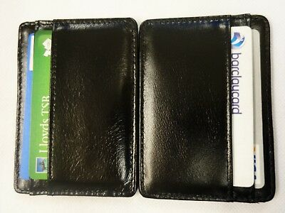 Luxury gift- boxed leather Mini Magic Wallet / Credit Card Holder Black