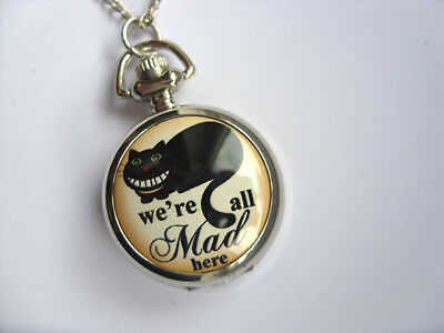 "Unusual Alice in Wonderland Cheshire Cat "" We are all Mad Here "" Necklace Watch"