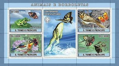 SAO TOME BIRDS SPIDER FROG BUTTERFLY INSECTS CENT OF SCOUTING SCOUTS  7209A s