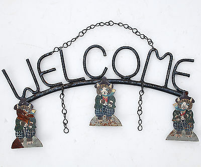 "Rustic Black Painted Steel ""WELCOME"" Sign with 3 CATS in Scottish Golf Knickers"