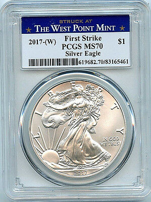 2017 W Silver Eagle Dollar PCGS MS70 Coin First Strike West Point Label ASE C38