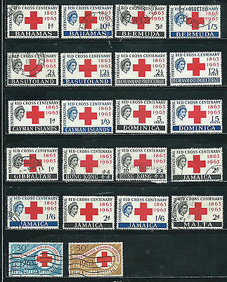 Red Cross Centary Issue - 1963 - 38 stamps mixed - Common Design Types