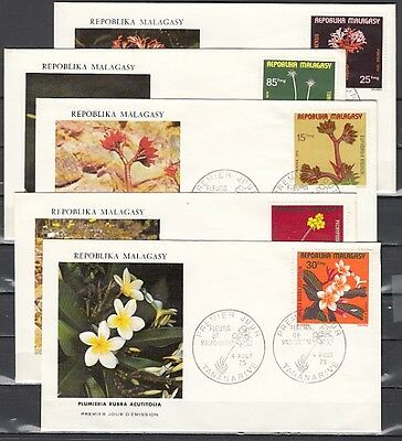 / Malagasy Rep., Scott cat. 527-530, C141. Tropical Plants. First day cover.