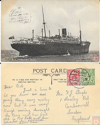 Angleterre - PAQUEBOT - HOBSONS BAY - Posted at sea 1922 - Port Said