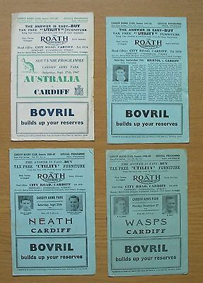 Cardiff Rugby Union programmes x 4 - 1947 to 1948 including vs Australia