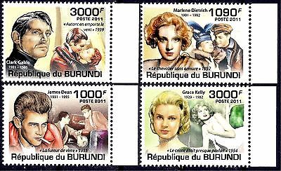 Burundi 2011 Movie Actors Cinema Clark Gable/Dietrich/James Dean/Grace Kelly MNH