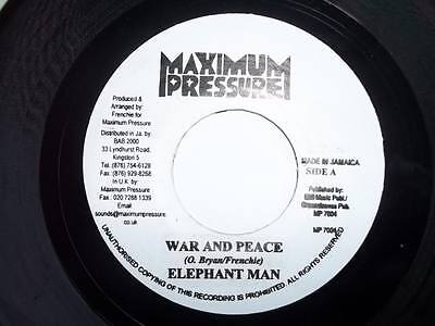 """ELEPHANT MAN War and Peace 7"""" vinyl Sound Clip in Listing"""