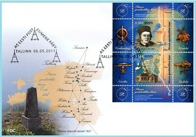 First day cover (FDC) of ESTONIA 2011 - The Struve Geodetic Arc
