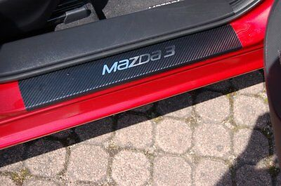 Stainless Steel Carbon Style door sill protectors Mazda 3 BM