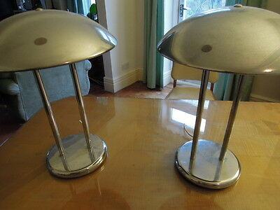Pair Of Vintage Metal Retro Space Saucer Lamps  /  Lights