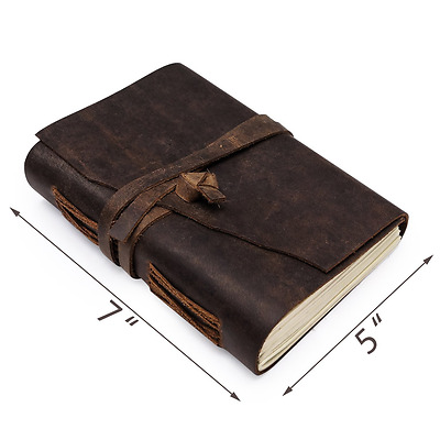 Leather Journal | Antique Bound Writing Scrapbook | Vintage Diary For Adults & T