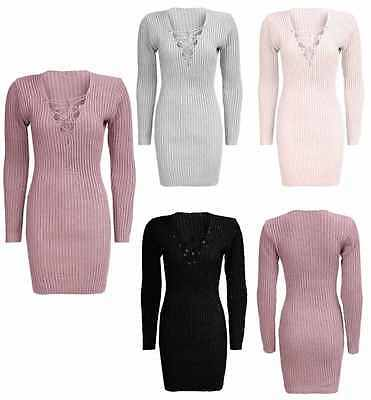 New Womens Ladies Lace Up V Neck Long Sleeve Ribbed Knitted Bodycon Mini Dress