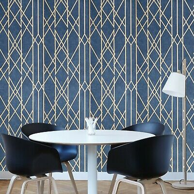 Embossed Non-Woven Wallpaper Royal Blue Gold Metallic Textured Victorian Modern