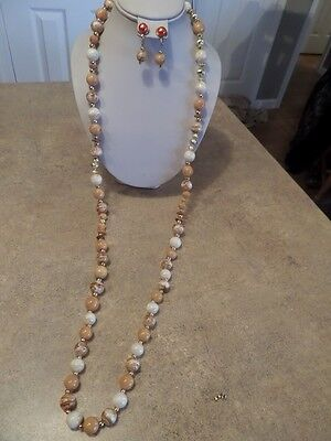 Long Vintage Marbled Cream and Brown Necklace and Earrings E1