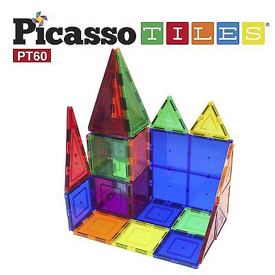 Clear 3D Magnetic Picasso Tiles Building Blocks 60 Piece Kids Children Play Game