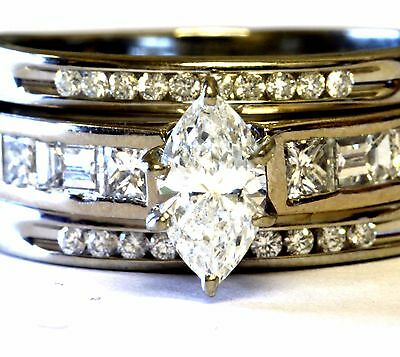 14k 18k yellow white gold 1.43ct marquise diamond engagement ring wedding band