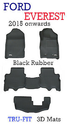 Ford Everest Black Rubber 3D Floor Mats - 2015 - 2017