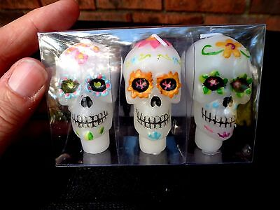 New Set Of 3 Day Of The Dead Sugar Skull Head Wine Cork Candles Halloween