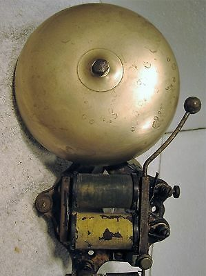 "Vintage Faraday 6"" brass electric fire alarm gong or bell"